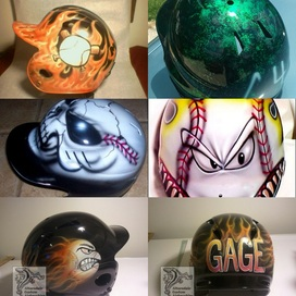 Airbrushed designs for batting helmets